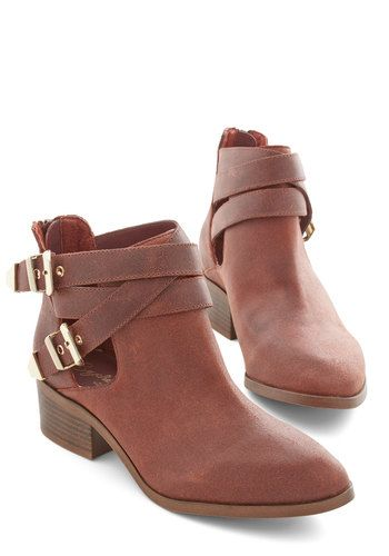 Scoundrel Bootie in Auburn - Solid, Buckles, Boho, Better, Variation, Brown, Cutout, Low, Leather