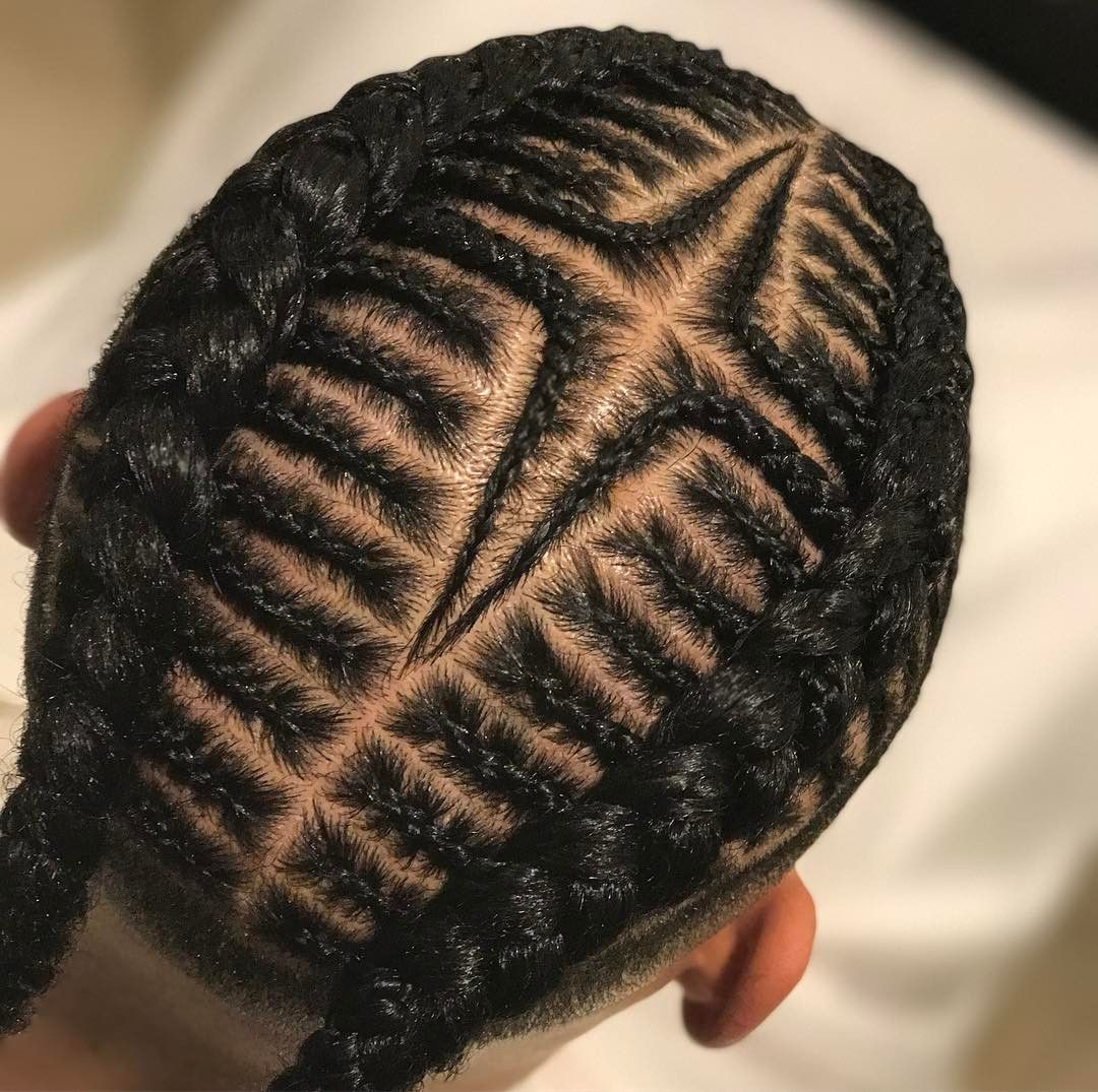 Fade With Straight Braided Bun