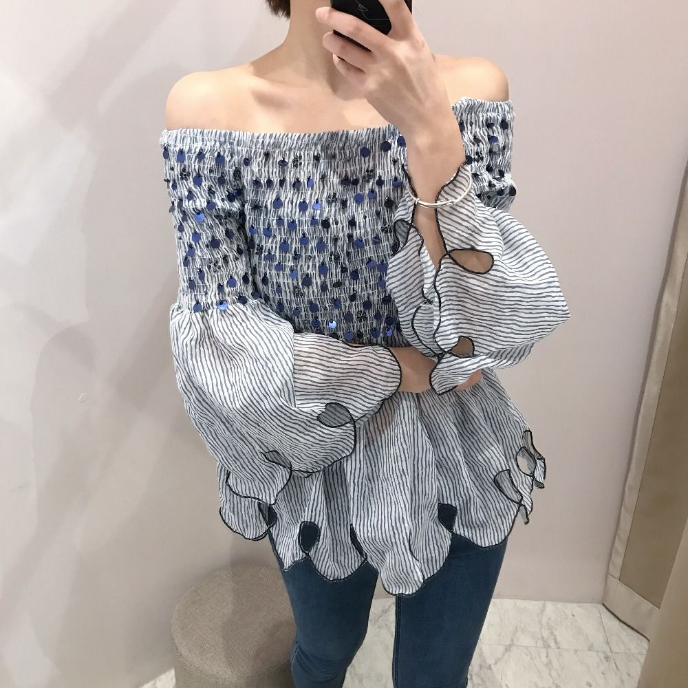 9b94aa968f7ed Beautiful Blue Sequined Off Shoulder Top for Women Summer Blouse Shirt     AliExpress Affiliate s buyable