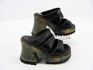 c776187f5de London Underground Womens Black Leather Chunky Platform Slides Sandal Shoe  5 F6