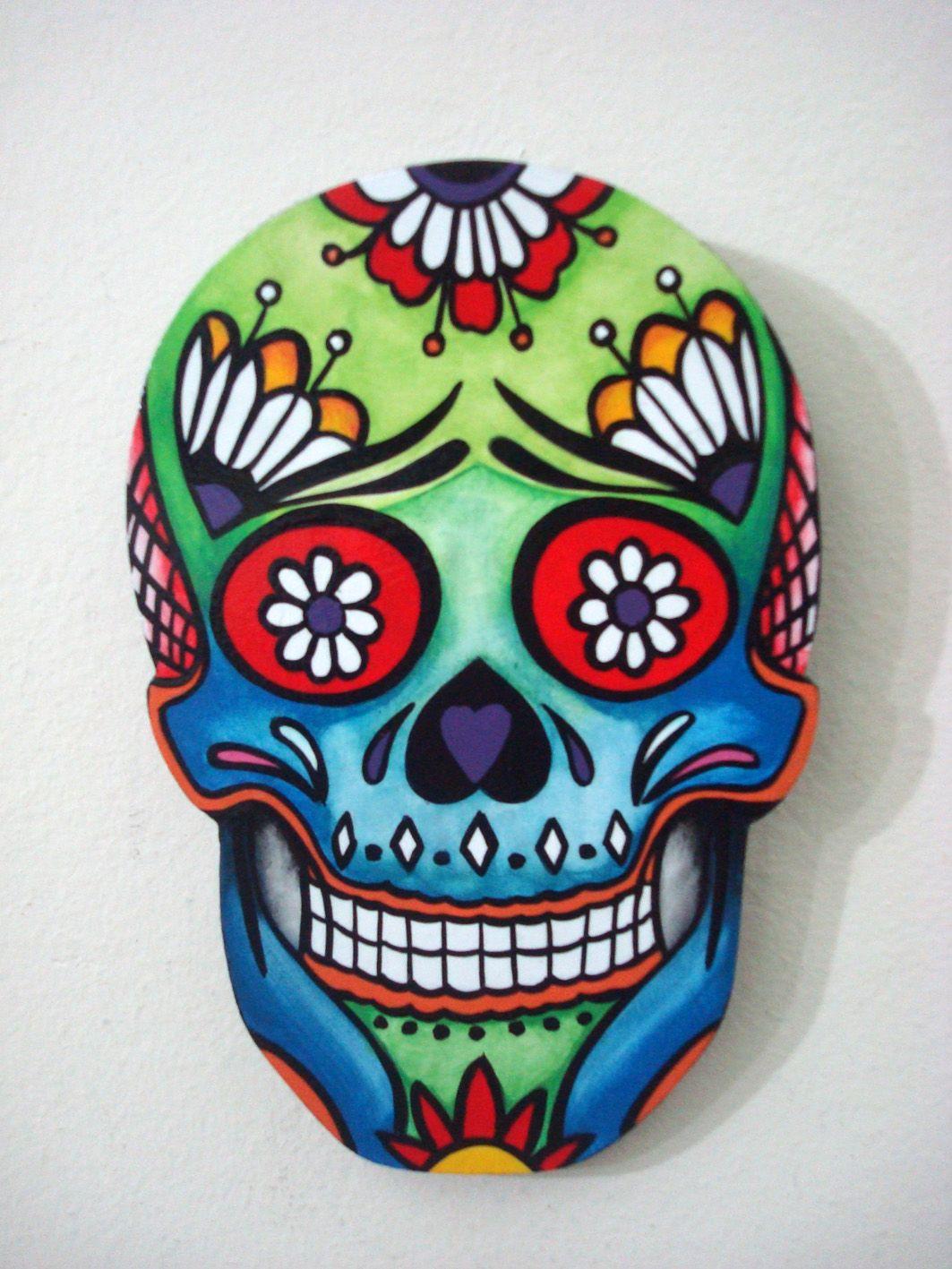 Calaveras Mexicanas é Uma Caveira Estilizada Colorida E