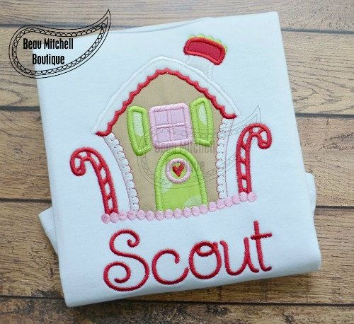 Gingerbread House applique embroidery by BeauMitchellBoutique