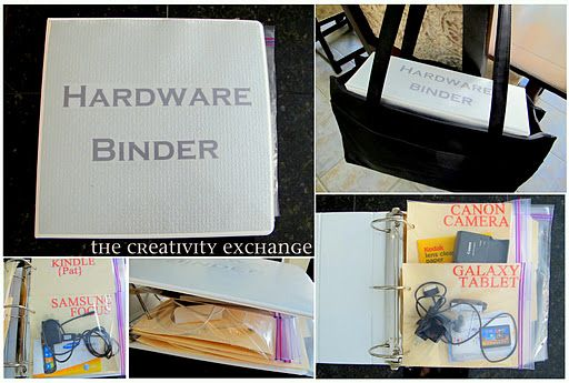 binder to keep random cords and instructions in.....