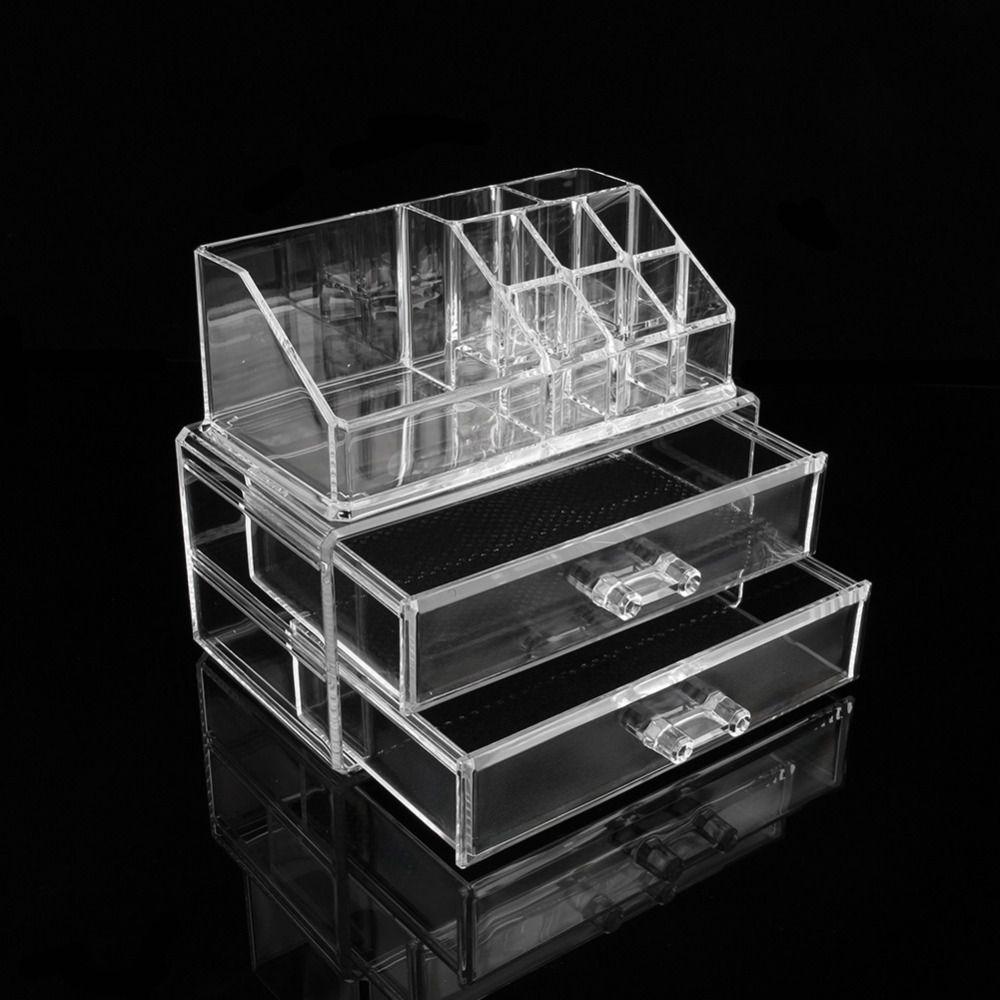 W Clear Makeup Jewelry Cosmetic Storage Display Box Acrylic Case