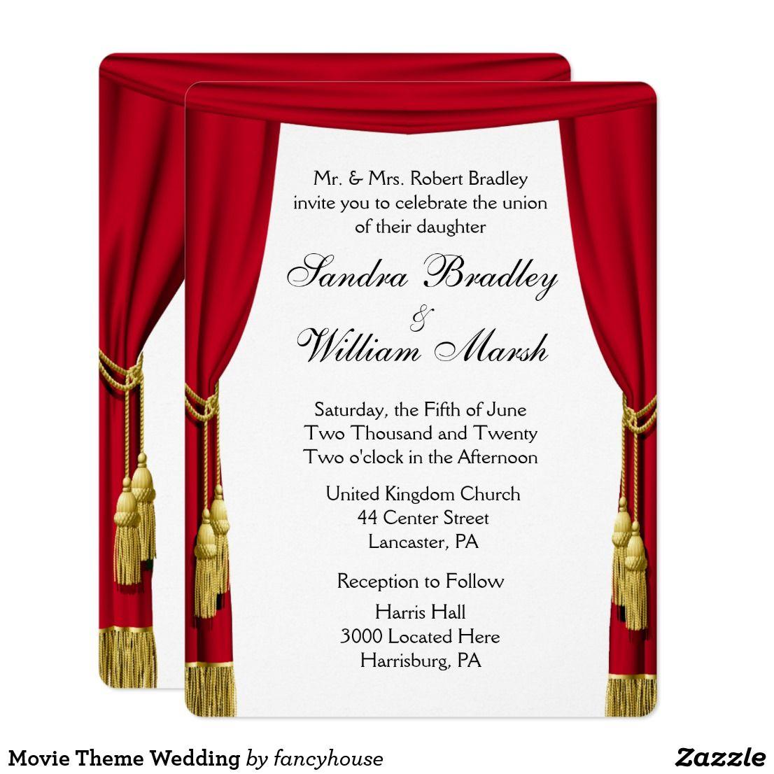 Movie / Theater Theme Wedding Invitation | Movie theme weddings ...