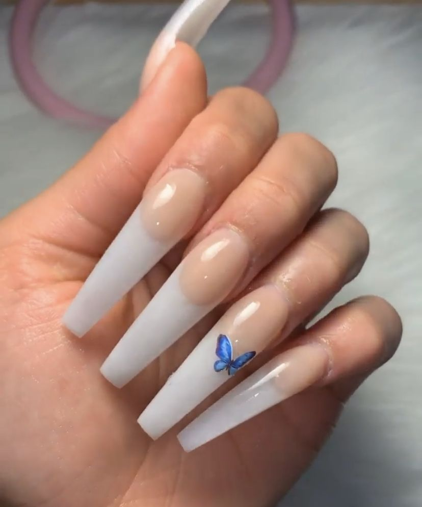 French Tip Xl Coffin Nails French Tip Acrylic Nails French Acrylic Nails Coffin Shape Nails