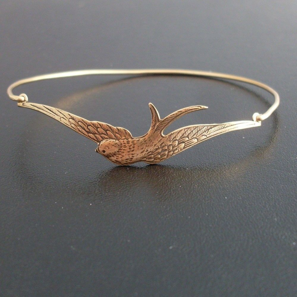 Swallow Bracelet Swallow Jewelry Bird Watcher Gift for Bird Lover Gift for Nature Lover Ornithology Gift Frosted Willow Swallow Bangle