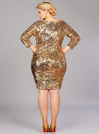 1128b603239 Monif C-Josephine Sequins Party Dress-Gold