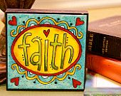 FAITH - Art Block - Christian - Inspirational - Stackable - Wall Decor- 4x4