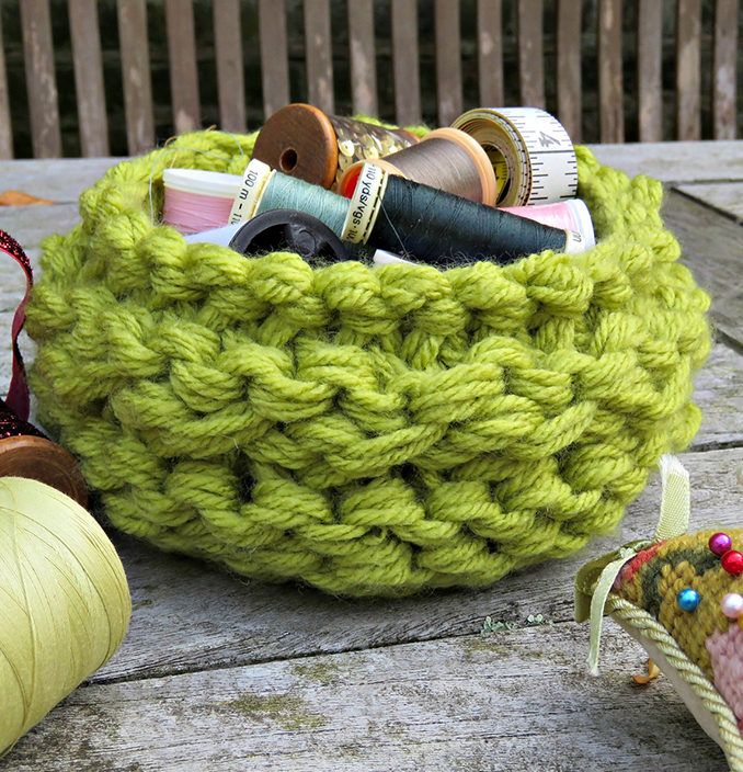 Free Knitting Pattern for Chunky Basket - Knit with 4 strands of ...