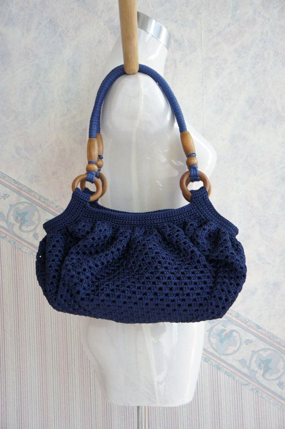 Navy Blue Hand Crochet Bag With Wooden Handles Ooak By Cosetta