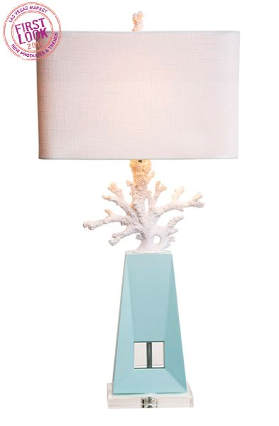 Lamp Love At Couture Lampsu0027 Solana Shines Bright With A Cast Resin Coral  Accent; Pale Blue Lacquer On A Wood Base U0026 An Optic Crystal Accent.