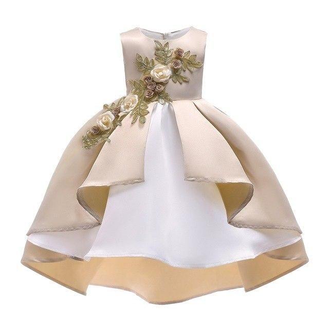 Girls High-end Drag-tail Lace Beauty Ball Dress Fashion Elegant Flower Girl  Princess Host Wedding Bridesmaid Banquet Dress 3ce25582c336