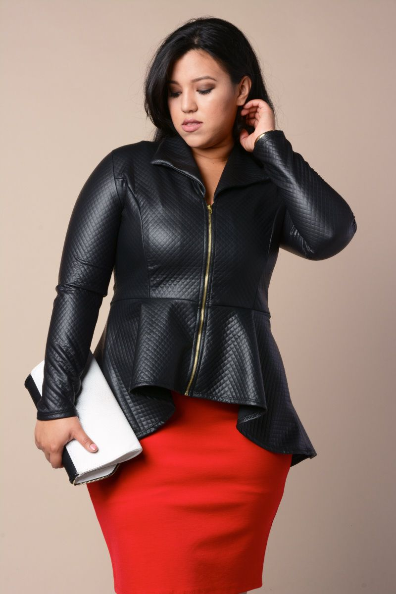 03158639f7092 Plus Size Quilted Leather Jacket