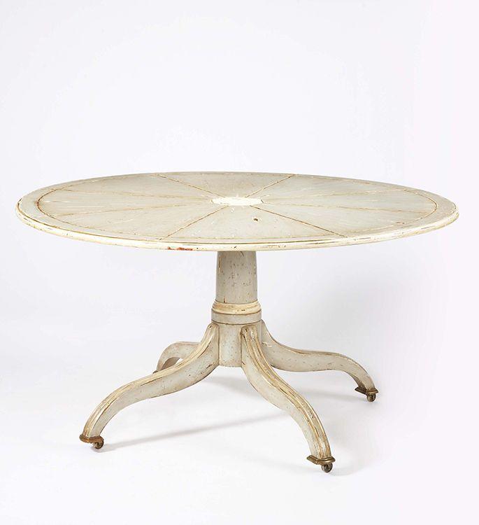 "Century Furniture - Distressed antique grey and white 56"" round"