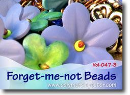 Forget-me-not Polymer Clay Bead Tutorial by Cindy Lietz, Polymer Clay Tutor... what could be sweeter than this little cutie, tucked into your jewelry making projects? See the teaser video for more examples.