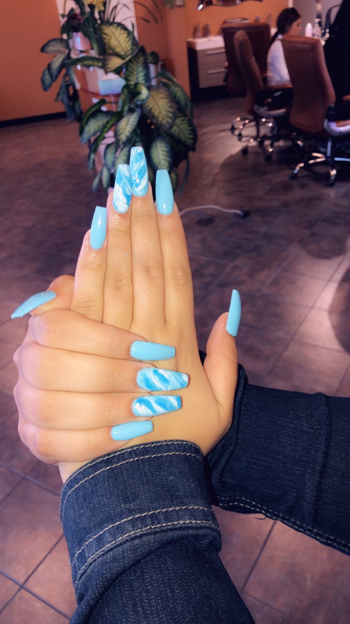 Summer Acrylic Marble Nails Long Spring Color Sky Blue Coffin