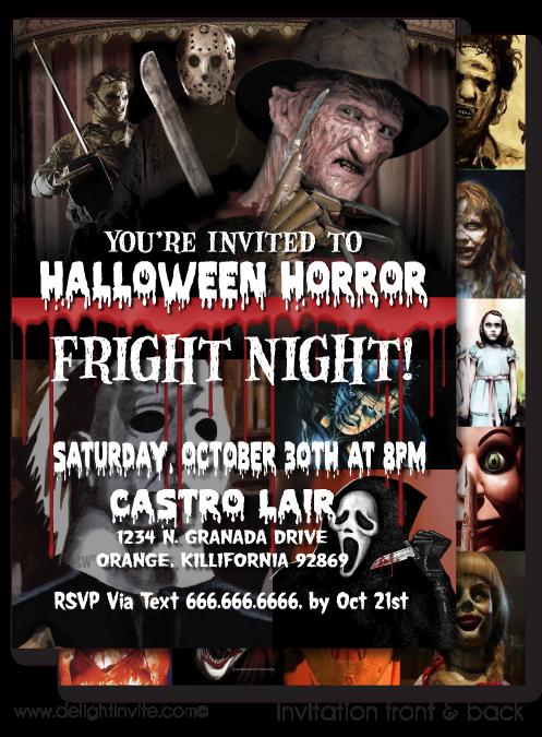 Classic Horror Movie Halloween Invitation Printable file digital – Scary or Horror Invitation Cards