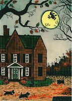ACEO PRINT OF PAINTING RYTA SCOTTISH TERRIER ART HALLOWEEN COTTAGE WITCH COUNTRY
