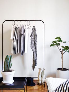 IKEA clothes rack $29 can get from NZ website Could get with nice white wooden hangers for clients to hang coats in winter??