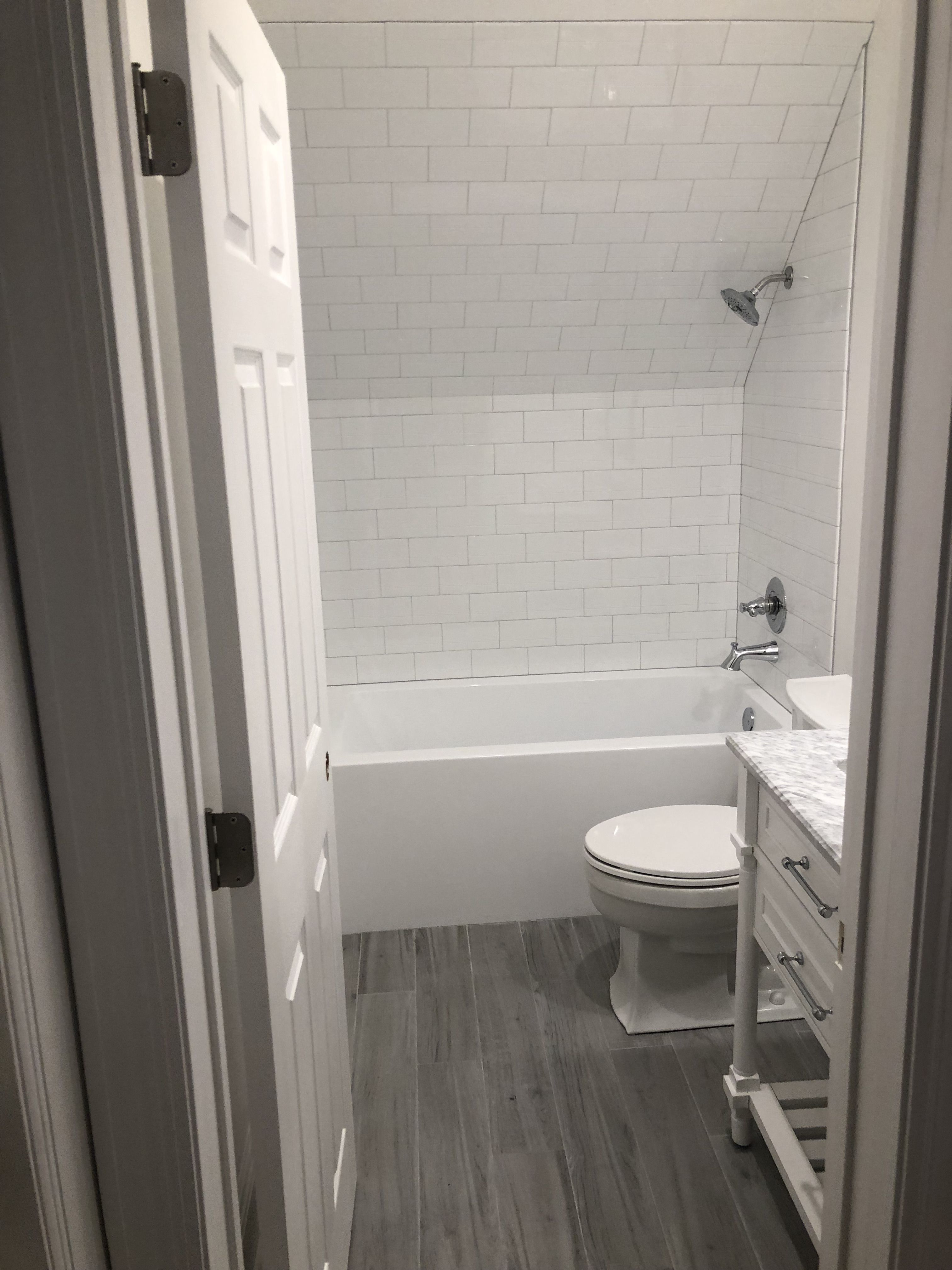 5x8 guest bathroom. White subway and dove grey grout. Tile ...