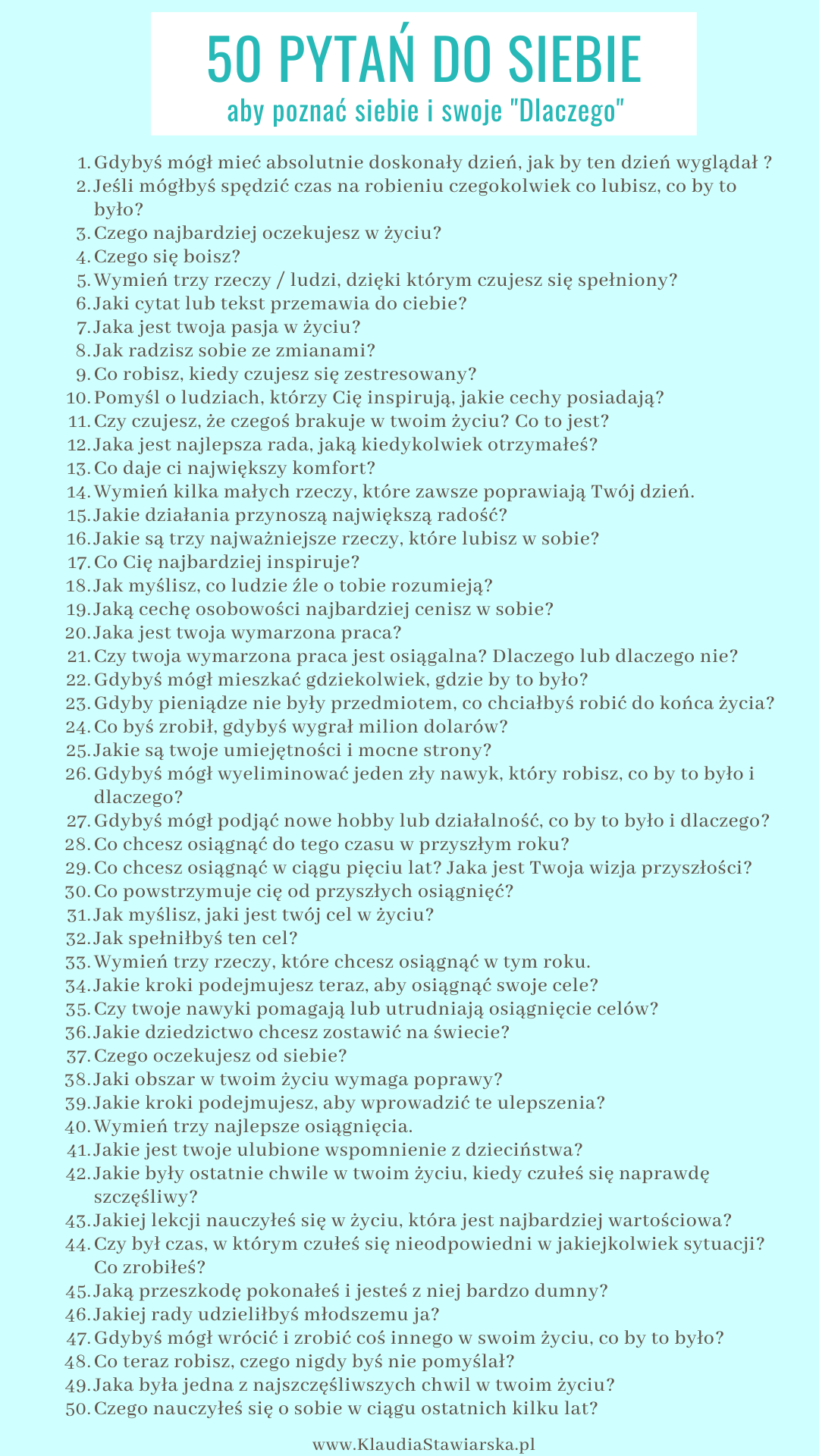 50 pytań do siebie, aby poznać siebie i swoje Dlaczego