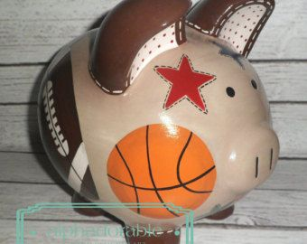 "LARGE Vintage Sports, Artisan hand painted ceramic personalized piggy bank , 9"" tan and brown Soccer, football, basketball"