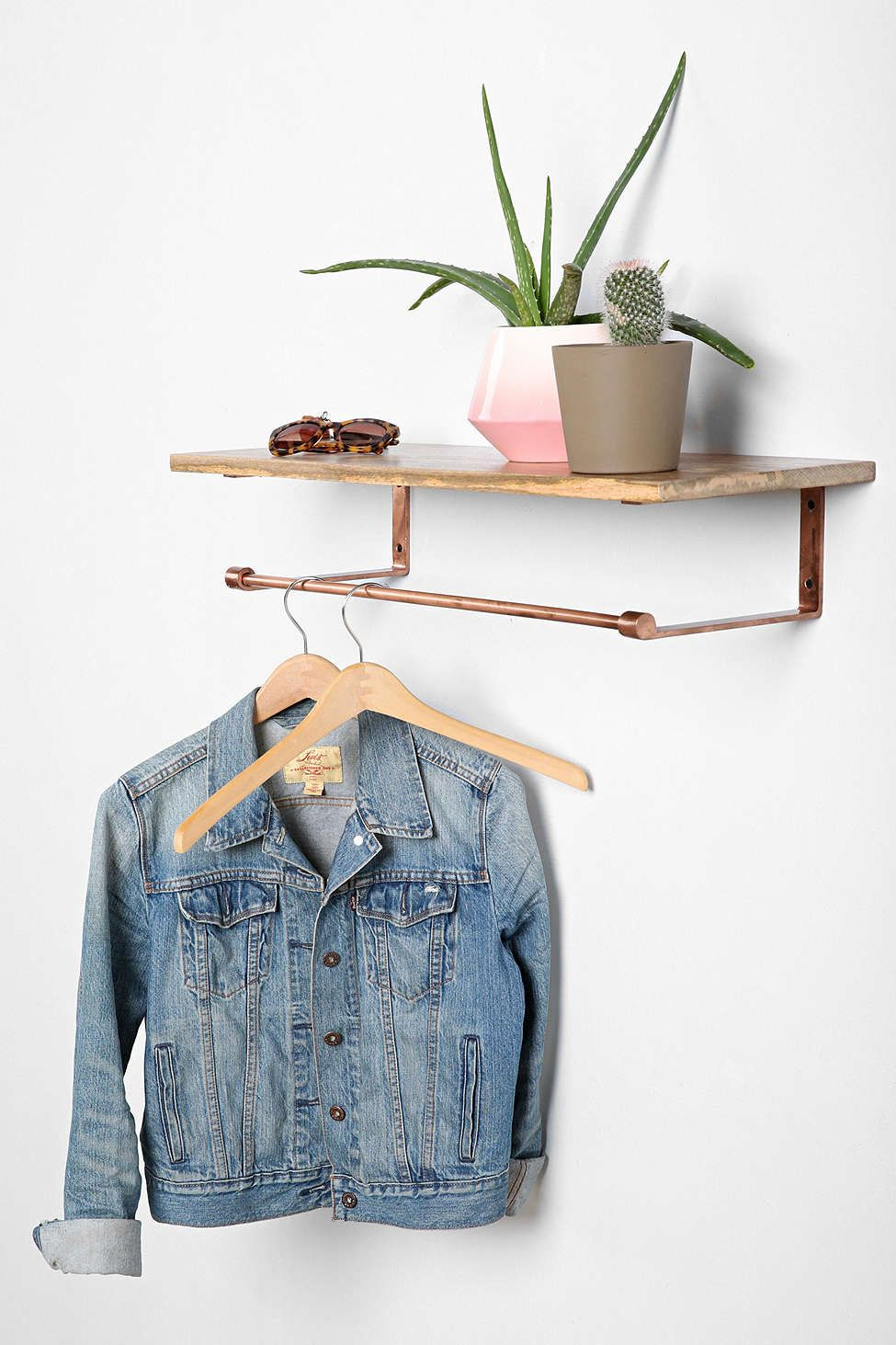 locust copper wood coat rack shelf bedroom pinterest coat