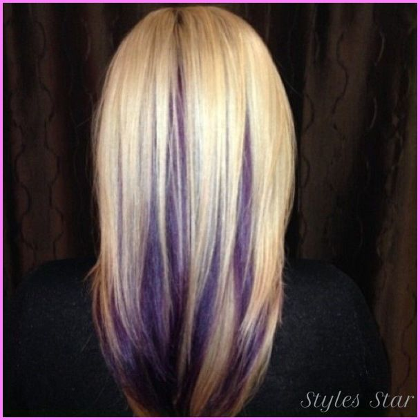 Nice Blonde Hair With Purple Lowlights Peekaboo Hair Hair Styles Hair Highlights
