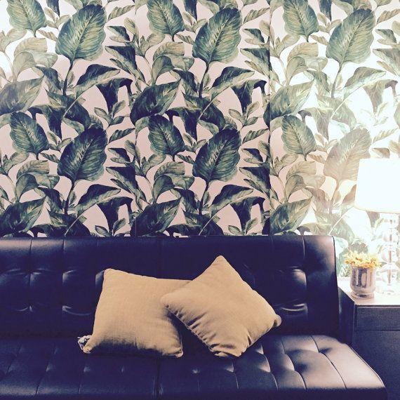 Tropical Leaves Wallpaper- Self Adhesive Fabric Wallpaper ...