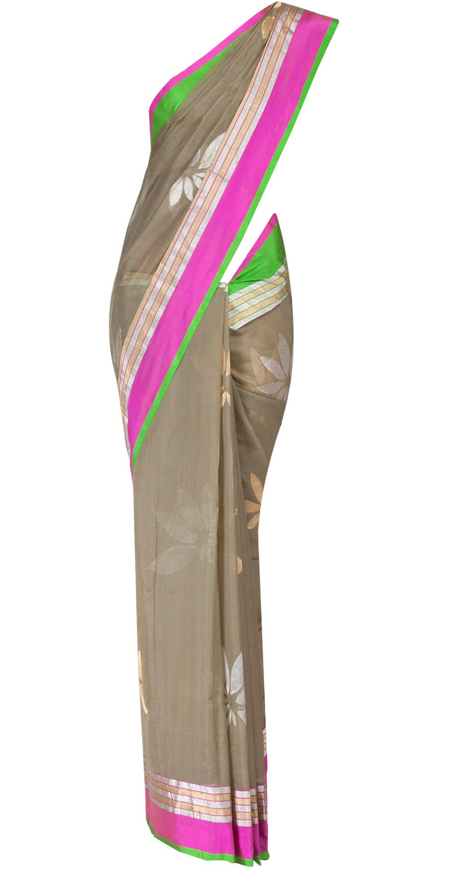 Olive green cutwork chanderi sari by EKAYA. Shop at http://www.perniaspopupshop.com/whats-new/ekaya-12