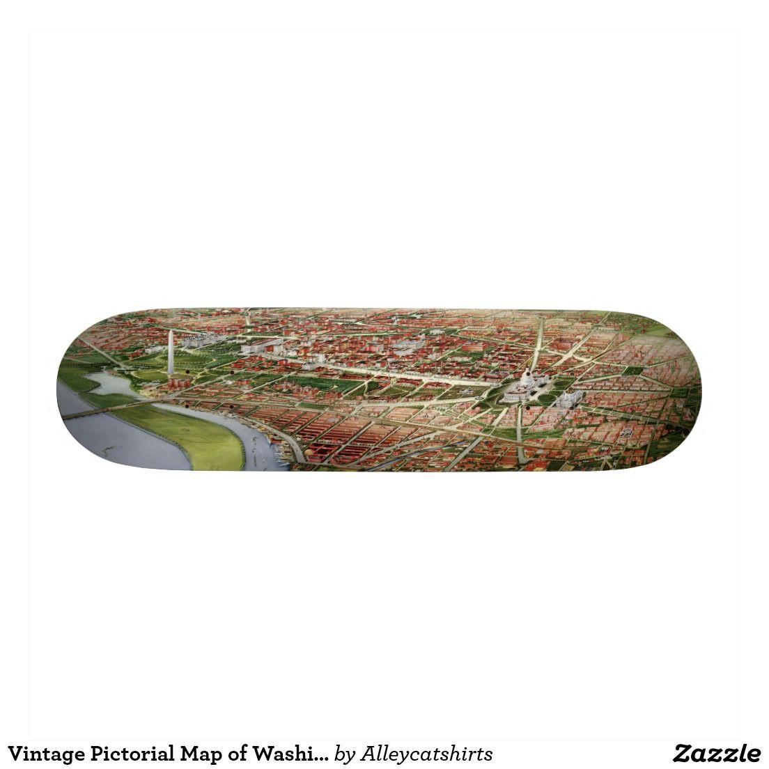Vintage Pictorial Map of Washington D.C. (1901) Skateboard Deck