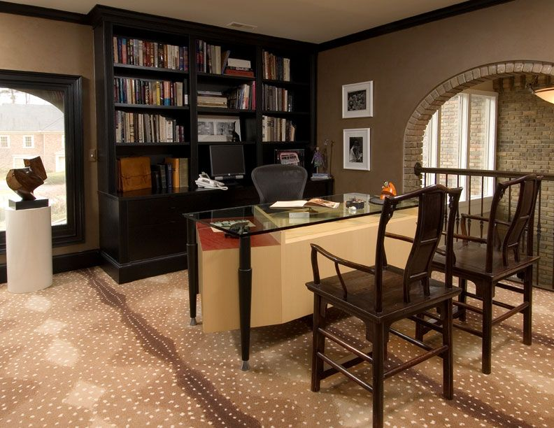 Stylish Home Office Ideas Furnished With Natural Wood Furniture Dark Bookcase Glass Desk Home Office Ideas Wooden Chair