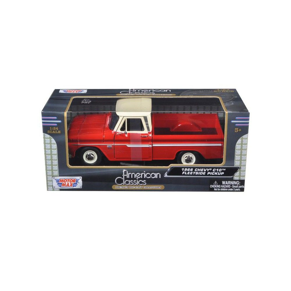1966 Chevrolet C10 Fleetside Pickup Truck Red with Cream Top 1/24 Diecast Model Car by Motormax