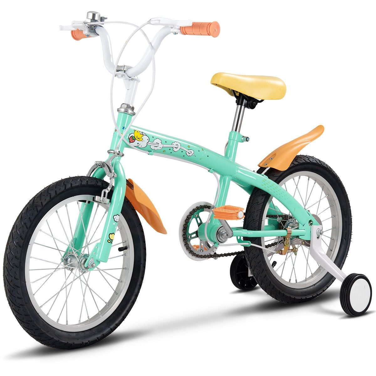 12 Outdoor Sports Kids Bicycle With Training Wheels Bell Yellow