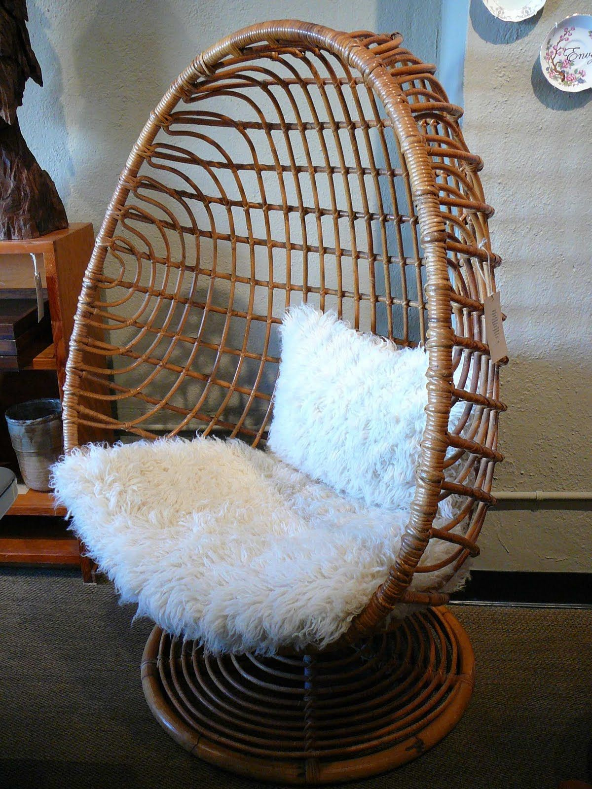 Wicker egg chair - 60 S Egg Chair It Looks Fuzzy White And Wood Rattan Nest Chair Natural