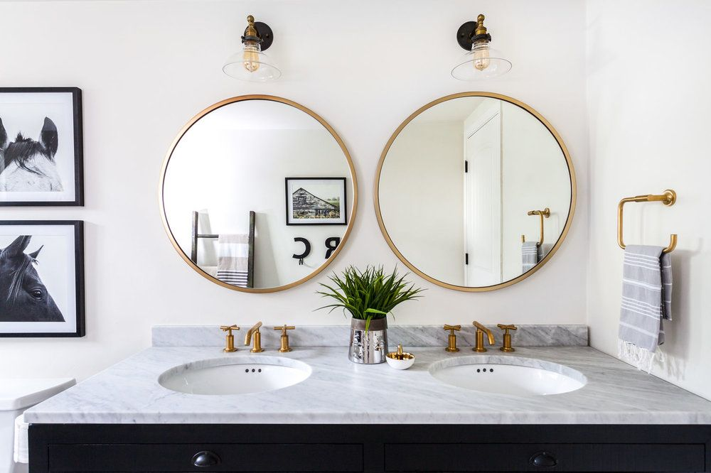 Round Mirror Above 72 Inch Double Vanity Google Search
