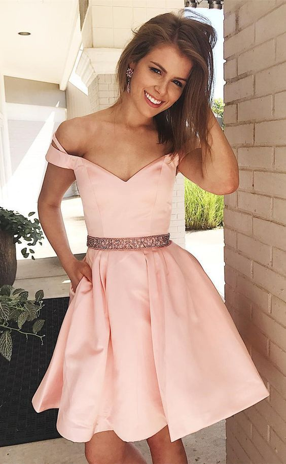 Pink Homecoming Dress,Short Beaded Prom Dress | fashion | Pinterest ...