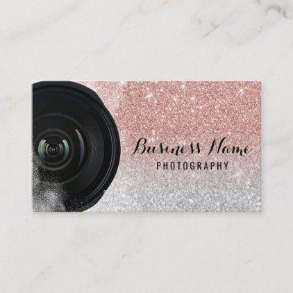 Photographer Camera Rose Gold Glitter Photography Business Card Zazzle Com Glitter Photography Photography Business Cards Photographer Business Cards