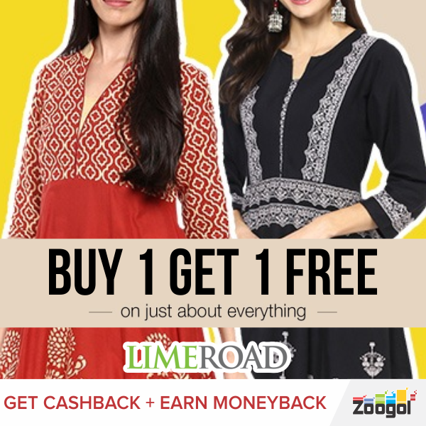 buy get on just about everything limeroad get cashback  buy 1 get 1 on just about everything limeroad get cashback earn moneyback