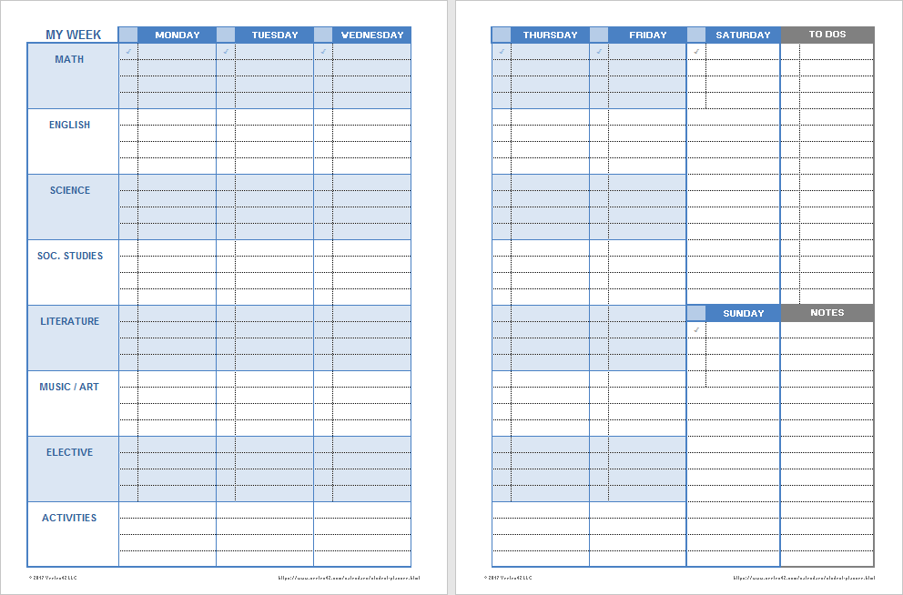 Download A Free Printable Weekly Student Planner Template For