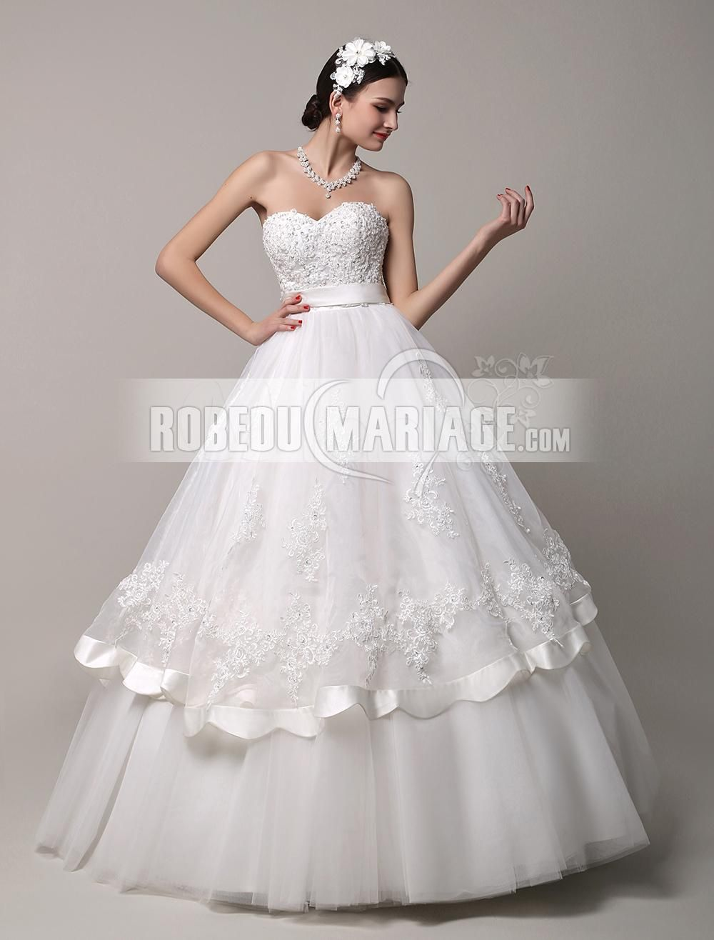 c8377326004 Dos nu robe de mariée en tulle organza col en coeur paillette   ROBE2013250