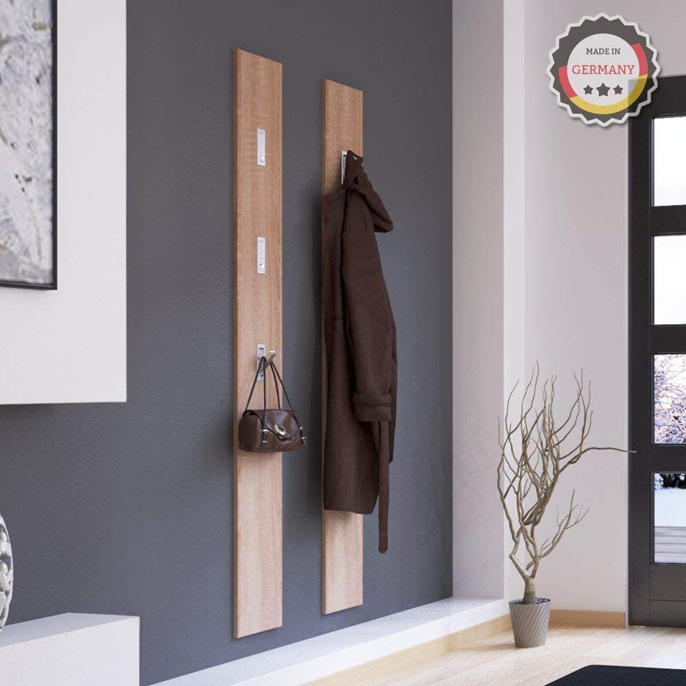 Wandgarderobe Garderobe Flurgarderobe Wandhaken Garderobenpaneel Haken weiß Holz