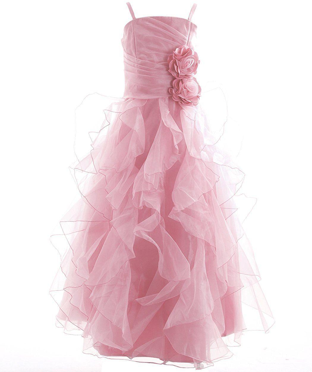 Amazon.com: Fashion Plaza Girl\'s Organza Long Ruffle Flower Girl ...