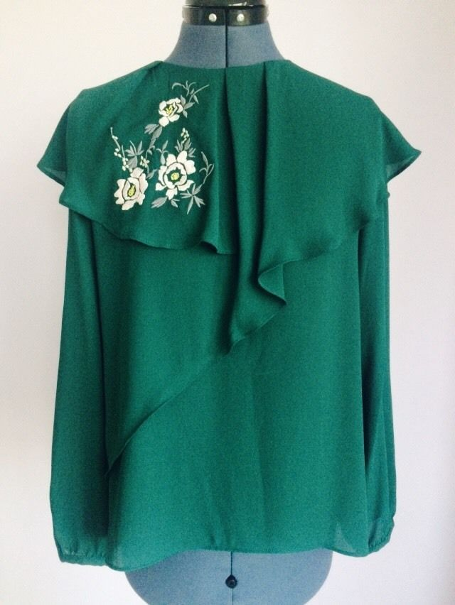 9dca02bc ZARA Woman Green Embroidered Layered Neck Blouse #Zara #Blouse #AllOccasions