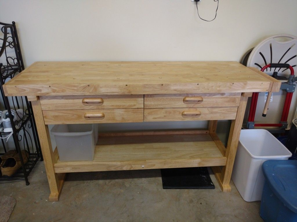 60 In 4 Drawer Hardwood Workbench In 2020 Craft Tables With Storage Woodworking Table Workbench