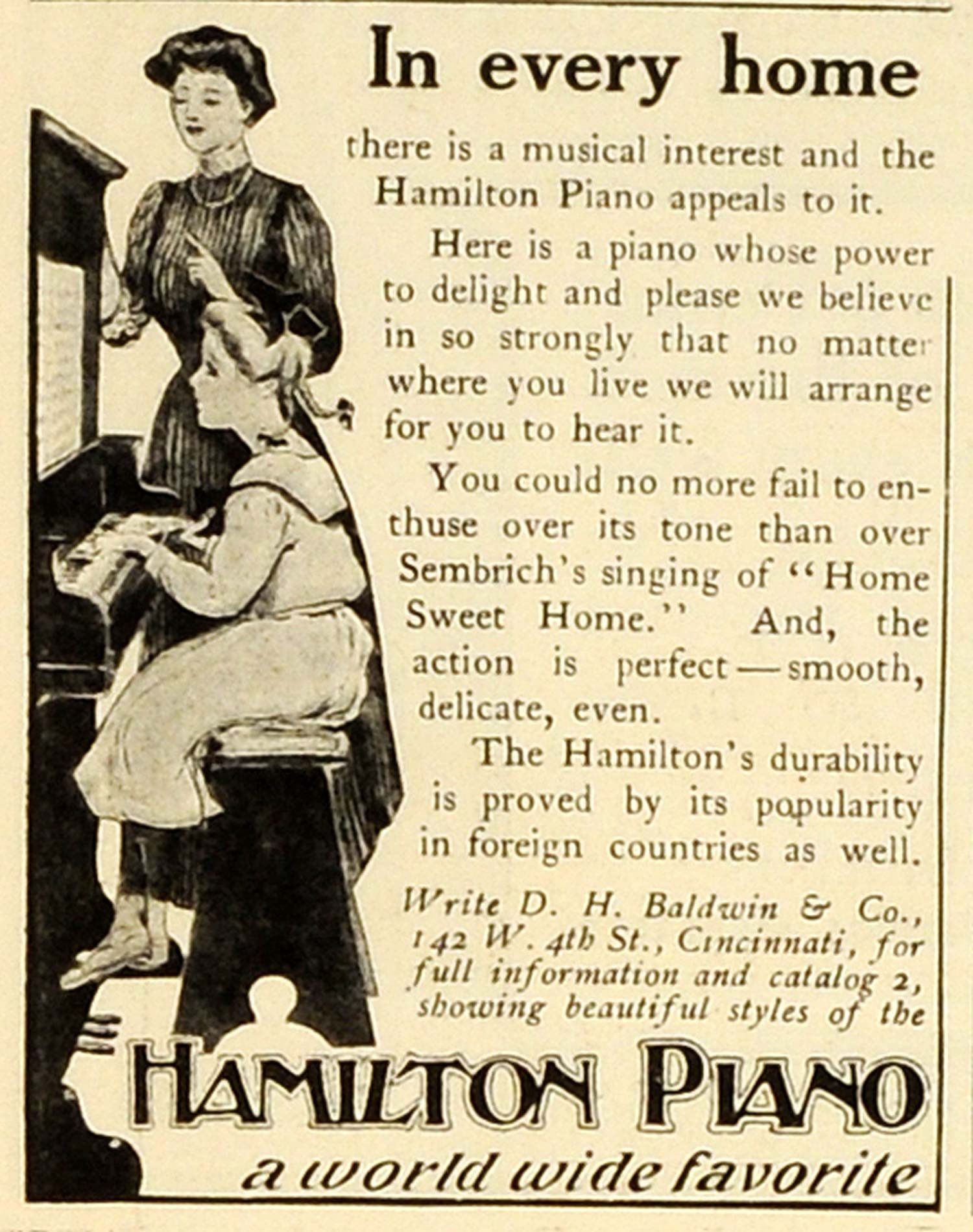 1906 Ad Hamilton Piano Vintage Musical Instrument D H
