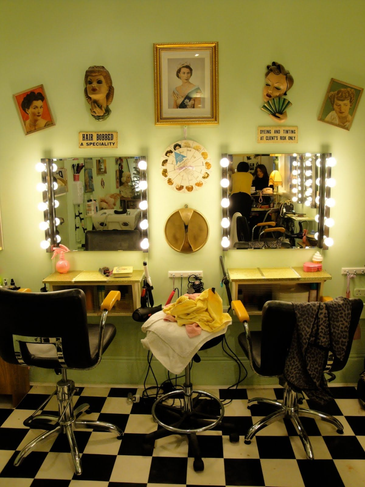 Cute Idea For Vintage Salon I Like The Floor And The Lights On The