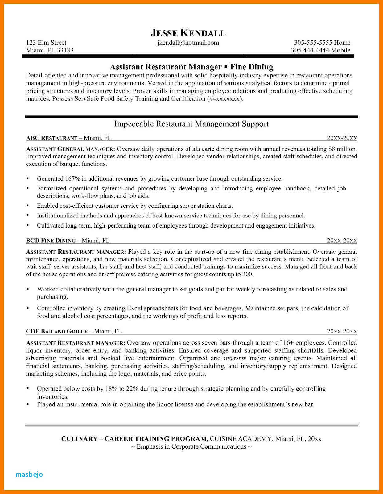 restaurant manager resume samples pdf