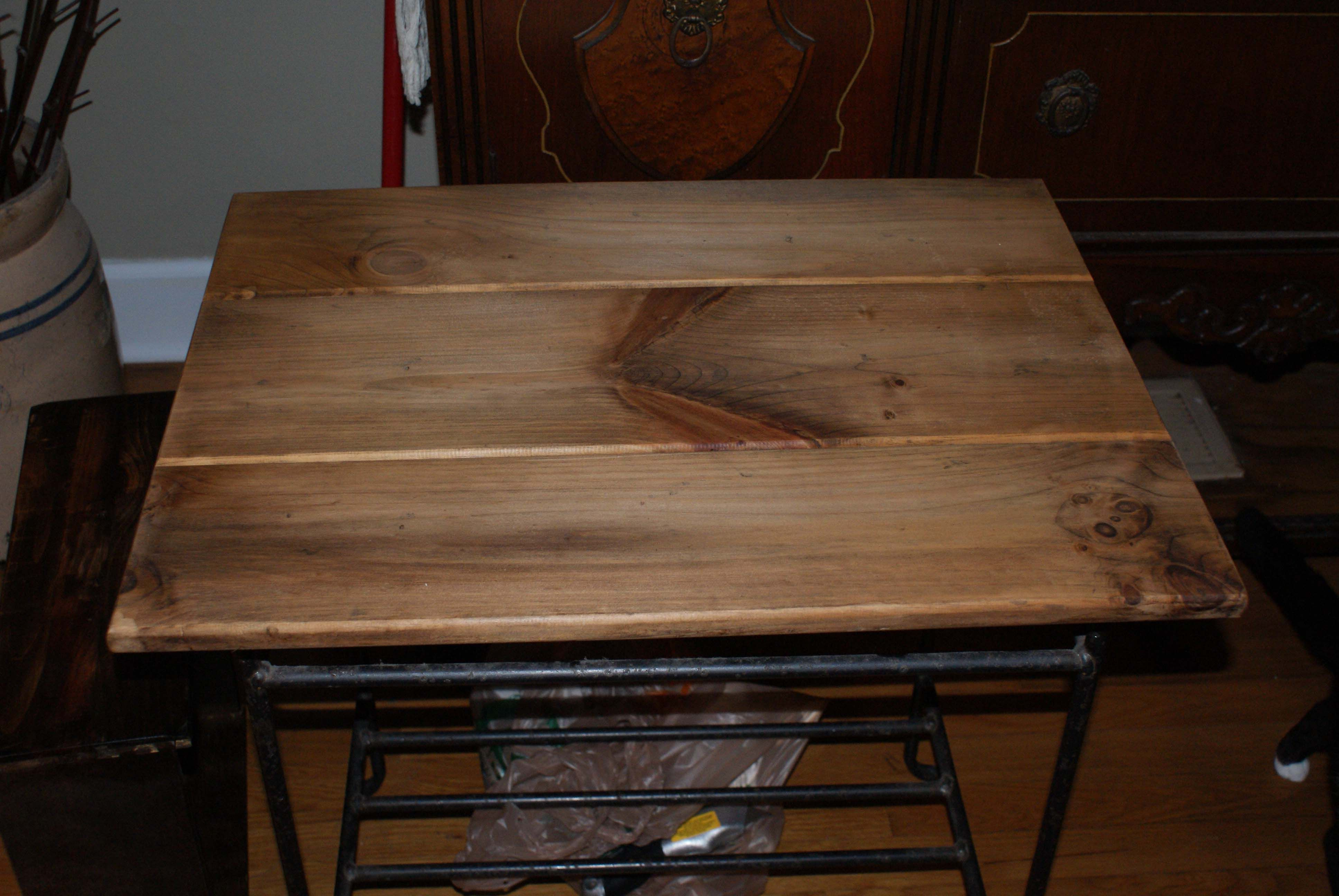One Of The Pottery Barn Pine Side Tables After Stripping And Sanding - Pottery barn pine table